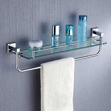 Glass Bathroom Shelves With Towel Rack by Bathroom Glass Shelves With Towel Bar Design Decoration