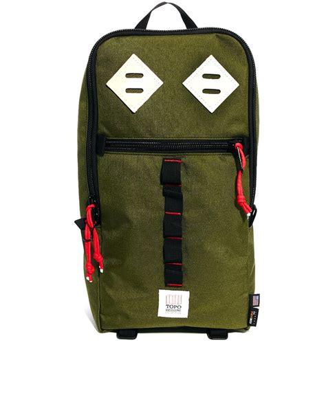 topo designs backpack topo designs sling backpack in green for olive lyst