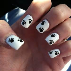 Paw print nail design hair and nails