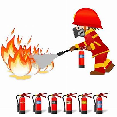 Extinguisher Fireman Clipart Fire Water Extinguish Hold