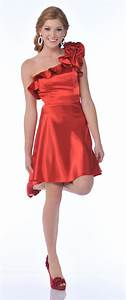Red Satin One Shoulder Strap Rose Short Cocktail Dress
