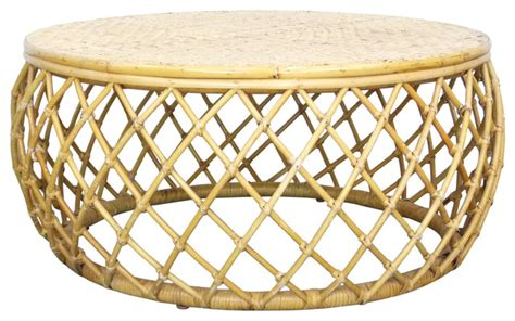 tropical round coffee table consigned bamboo rattan vintage round drum coffee table