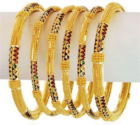 meenakari gold bangles set 4pc asba60094 22k gold meenakari bangles set 4pcs bangles