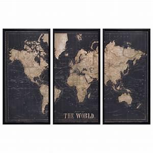 Triptyque Maison Du Monde : cadre triptyque carte du monde noir 180x120 modern design pinterest deco decoration et cadres ~ Teatrodelosmanantiales.com Idées de Décoration