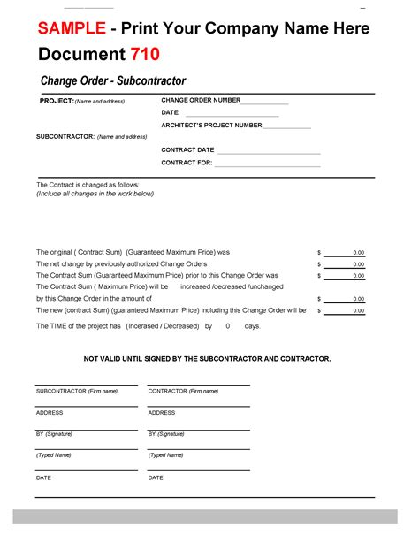 change order  subcontractorconstruction office