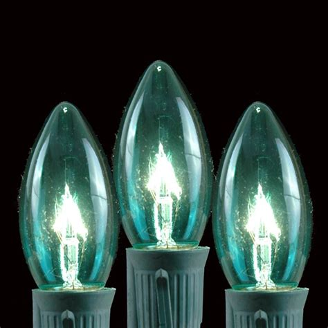 100 teal c9 christmas light set on brown wire novelty