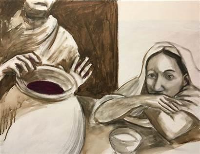Painting Jesus Miracle Hand Looking Watching Georgia