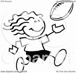 Clipart Black And White Sticker Football Player Girl ...