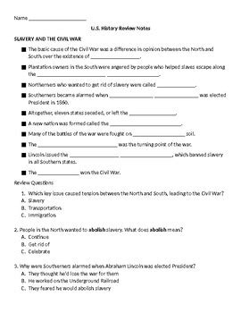 8th grade u s history review notes worksheet tpt