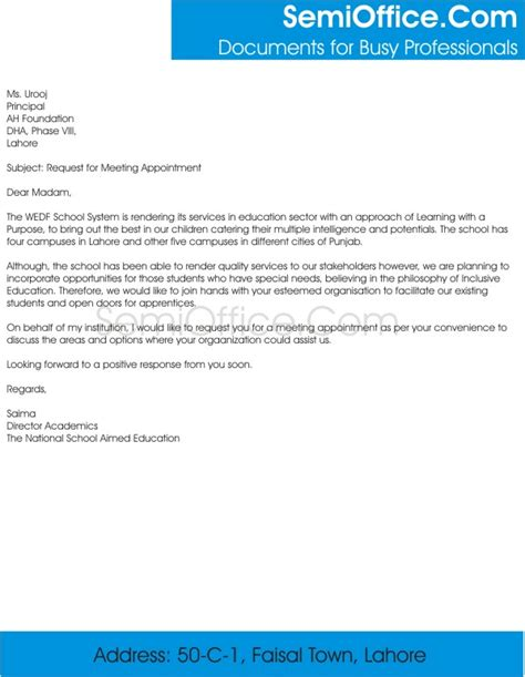 sample business letter seeking appointment sample
