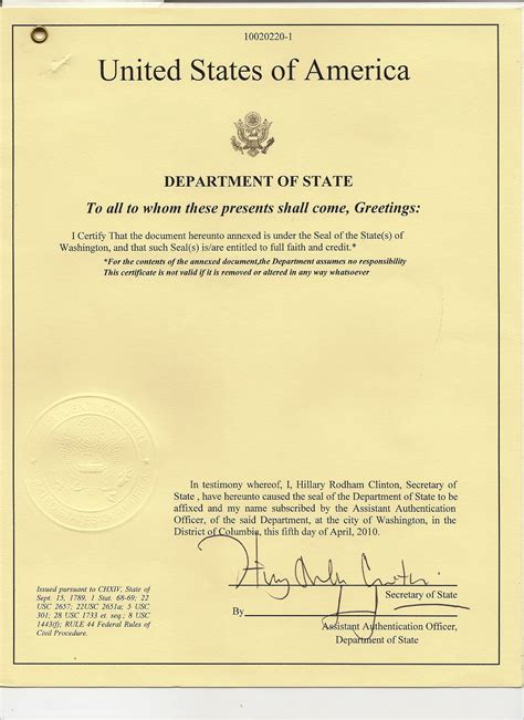 Washington State Birth Certificate