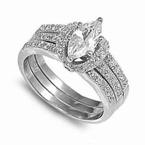 best marquise wedding set products on wanelo With silver ring guards for wedding bands
