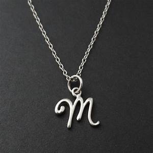 tiny initial letter m necklace 925 sterling silver With letter a pendant necklaces silver