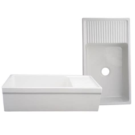 Apron Sink With Drainboard by Whitehaus Collection Quatro Alcove Reversible Series