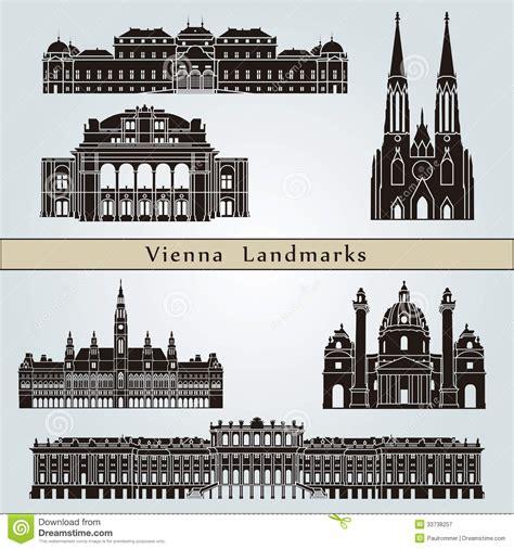 vienna landmarks  monuments stock vector illustration