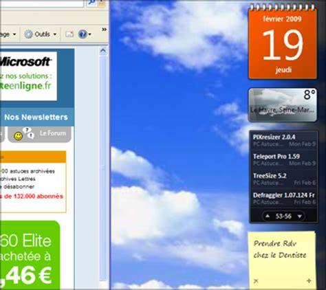 gadget de bureau windows 7 pc astuces utiliser les gadgets vista avec windows xp