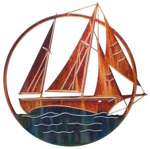 sailboat nautical metal wall art 20 quot by lazart home