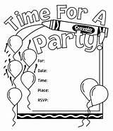 Coloring Invitations Birthday Invitation Crayola Own Cards Drawing Happy Invite Activity Printable Template Templates Printables sketch template