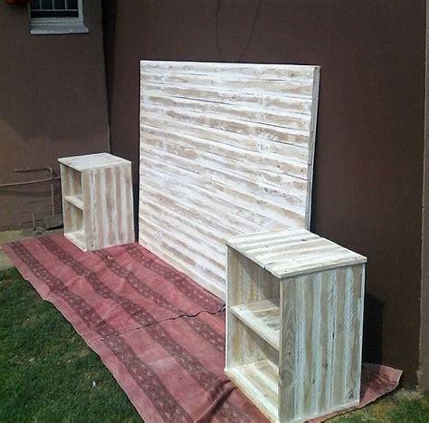 wooden pallet bed headboard side tables wood pallet