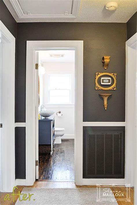 dark charcoal gray hallway   dark paint  white