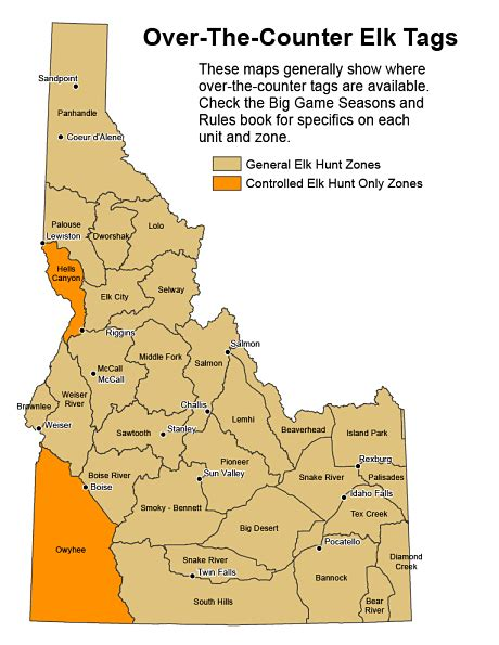 elk idaho map otc counter tag game areas units tags fish idfg hunts awesome states muley license fall draw pc