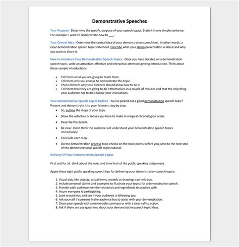 Demonstration Speech Outline Template by Speech Outline Template 38 Sles Exles And Formats