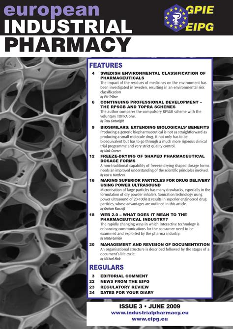 Industrial Pharmacy by European Industrial Pharmacy Issue 3 June 2009 By