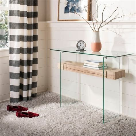 """Discover +300 safavieh table & chair in the buyma online marketplace now. Shop Safavieh Kayley Natural/ Glass Console Table - natural / glass - 39.4"""" x 13.8"""" x 31.5 ..."""