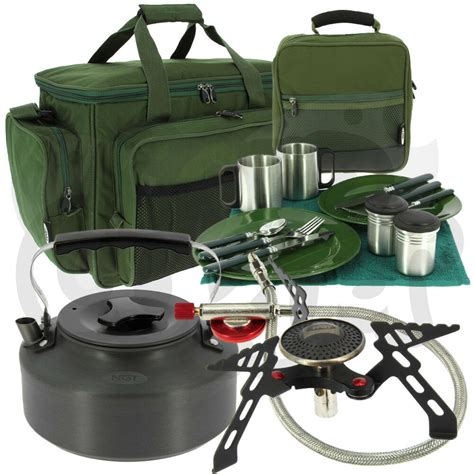 ngt carp fishing cing cutlery cooking with gas stove kettle carryall ebay