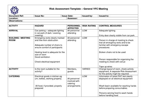 risk assessment forms word templates