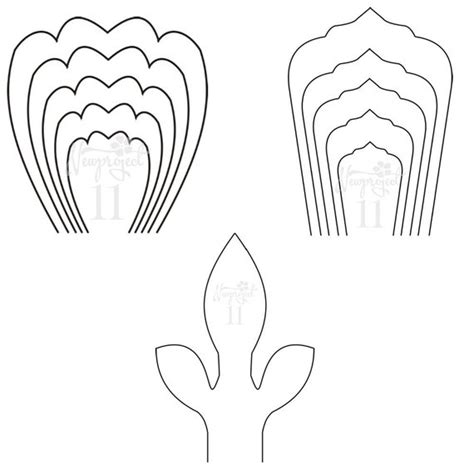 free printable paper flower templates pdf set of 2 flower templates and 1 leaf template paper flower template flower wall