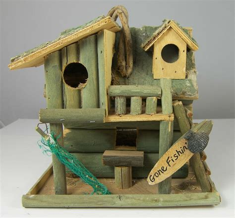 fishing cabin decorative bird house 8 x 8 x 7 quot rustic - Decorative Birds