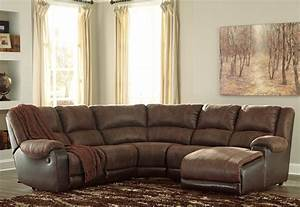 Ashley signature design nantahala faux leather reclining for Sectional sofas with recliners ashley