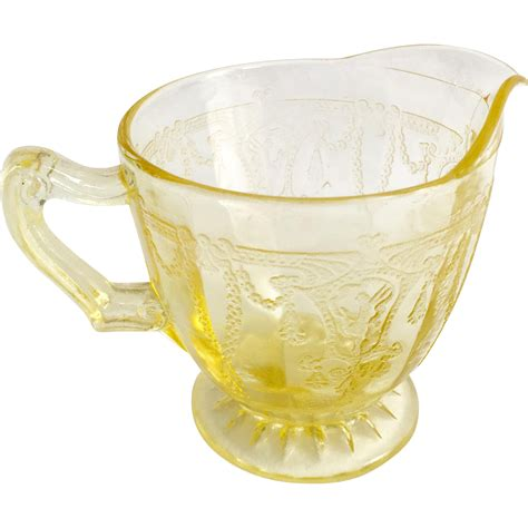 depression glass hocking cameo ballerina yellow depression glass creamer from maggiebelles on ruby lane