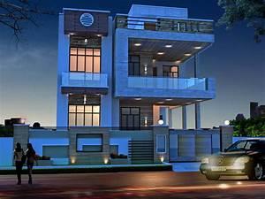 Modern, House, Exterior, Night, View, 3d