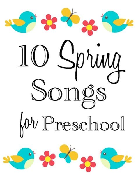 10 preschool songs laptime songs 510 | 10 preschool spring songs white