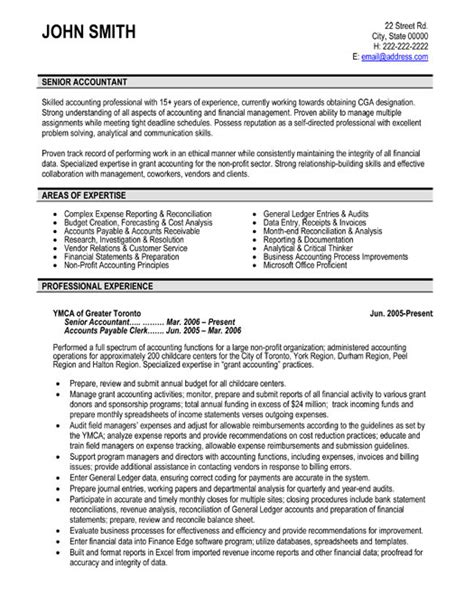 resume exles for accountants senior accountant resume sle template