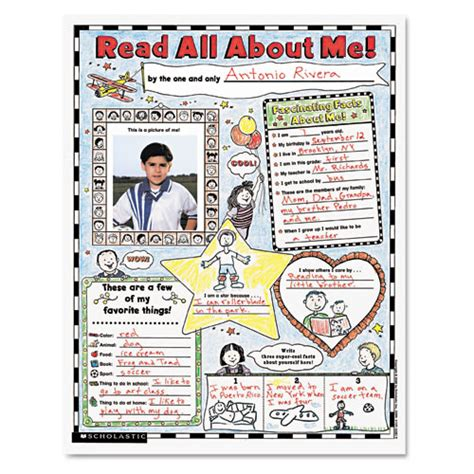 Read Poster Template by Scholastic Instant Personal Poster Sets Read All About Me
