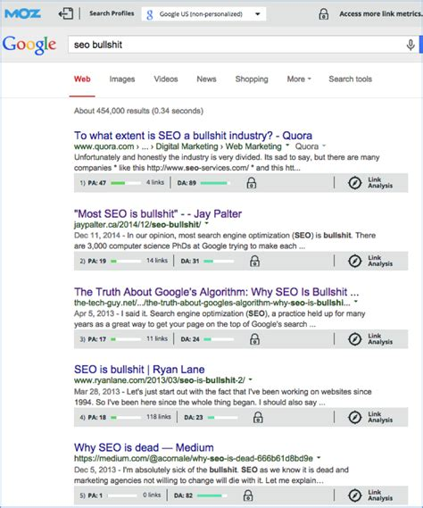 Seo Search Results - seo bullshit and how to avoid stepping in it feldman