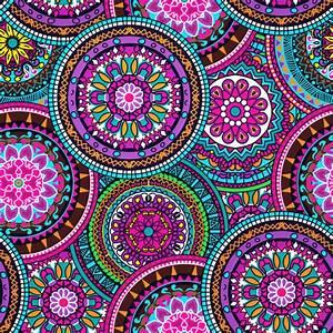 Bright Bohemian Boho Hippy Chic Pattern fabric - flamewave