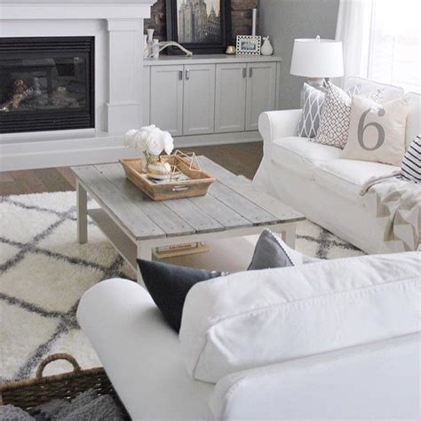 For example, you can turn such a table into a comfortable tufted ottoman. White living room via @painttheworldwhite   Ikea lack coffee table, Ikea coffee table, Living ...