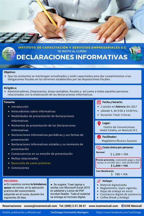 declaraciones informativas cursos de icse s c