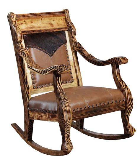 Cowhide Rocking Chair - cowhide leather rocker rusticartistry rocking chair