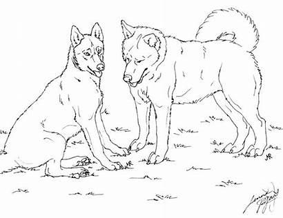 Husky Coloring Dog Printable Siberian Huskies Lineart