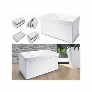 Coffre Banc De Rangement : banc coffre rangement pvc blanc 100x38x38 cm pliable accessoires m ~ Teatrodelosmanantiales.com Idées de Décoration