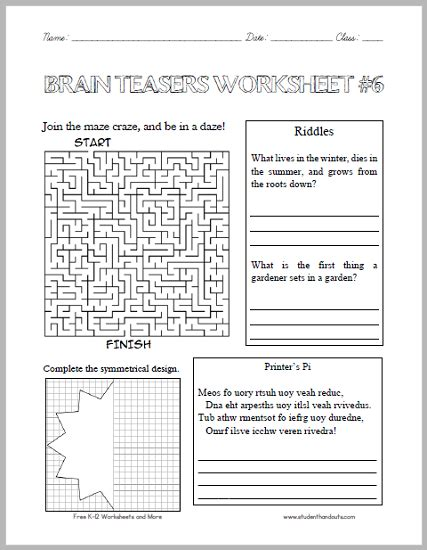 brain teasers worksheets click here to print for more of our free puzzles and