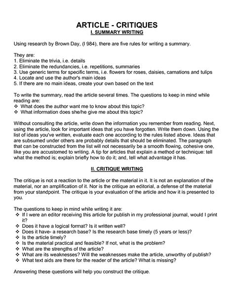 In other words this sounds great on paper but it doesn't translate as easily to everyday life. How To Write A Critique Paper On An Article | Best Writing Website