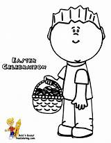 Easter Coloring Pages Handsome Boy Basket Print Easy Yescoloring Printable Eggs Baskets sketch template