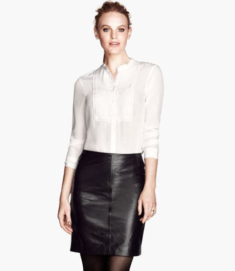h m blouses h m silk blouse in white lyst
