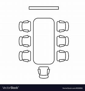 Meeting Room Layout Conference Boardroom Outline Vector Image